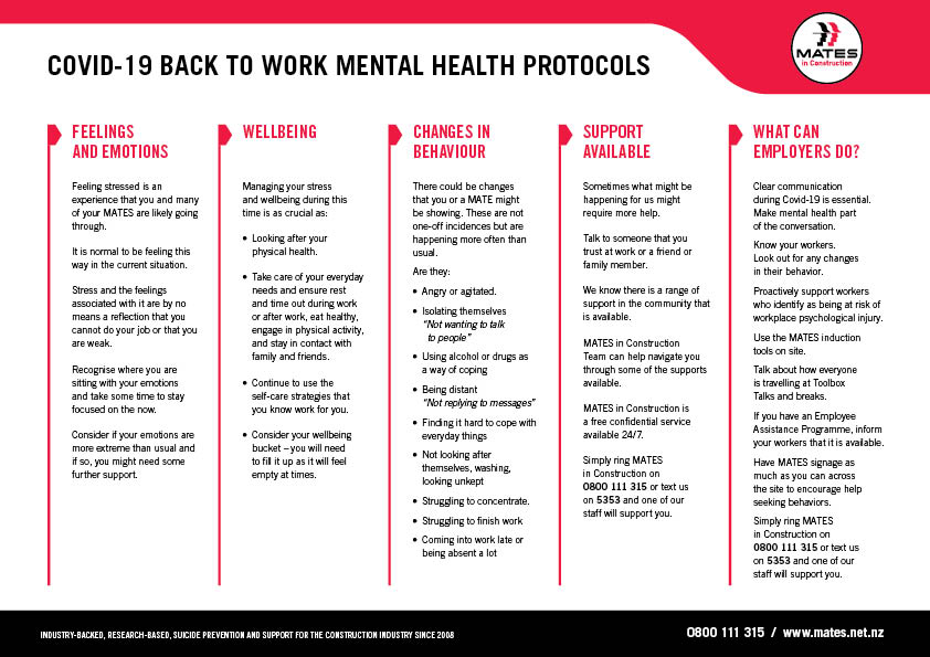 MATES in Construction NZ | Mental health support in construction protocols